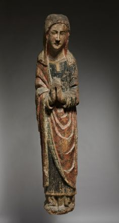 Mourning Virgin, c. 1250-1275      Spain, Kingdom of Castile and Leon, 13th century      polychromed oak, Overall - h:151.15 w:33.00 d:21.60 cm (h:59 1/2 w:12 15/16 d:8 1/2 inches).