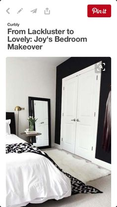 Find stylish examples of black accent walls perfect for a wall in your home that is tough to style. Domino shares photos of black accent walls to try in your home. Dream Bedroom, Home Bedroom, Bedroom Decor, Bedroom Ideas, Bedroom Designs, Warm Bedroom, Mirror Bedroom, Bedroom Wallpaper, Stylish Bedroom