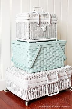 Spray paint picnic baskets to stack for charming extra storage!