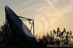 Photo about Satellite dish - sign in the sky left by the passage of an airplane. Image of dusk, exchange, morning - 78092566 Satellite Dish, Airplane, Tapestry, Earth, Sky, Celestial, Technology, Stock Photos, Outdoor
