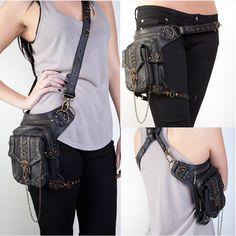 Steampunk Chain Faux Leather Waist Bag Vintage Phone Case