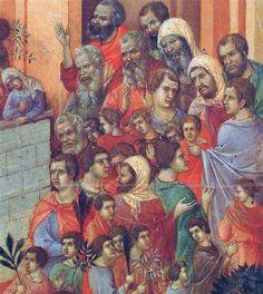 Duccio di Buoninsegna - Maestà  - Retro - L'ingresso a Gerusalemme, dettaglio - 1308-11 - Tempera e oro su tavola - Museo dell'Opera del Duomo, Siena