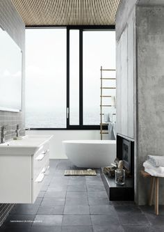 big glass windows x slate tiles :: #bathroom
