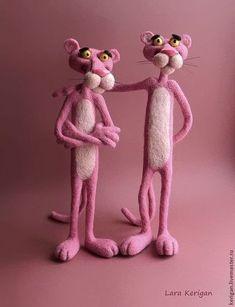 Animal toys, handmade.  Fair Masters - handmade.  Buy Pink Panther.  Handmade.  Felting toy, polymer clay