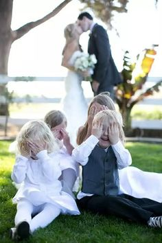 silly wedding party kids photo (there will be like 10 kids)