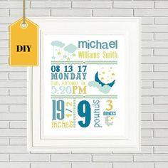 Baby announcement cross stitch/DIY Cross Stitch/baby chart/