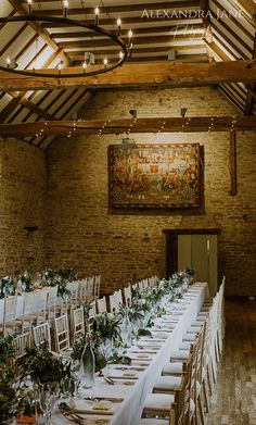 Great Barn, Aynho wedding with long trestle tables and simple greenery for floral decor. Wedding breakfast set up. Long Table Wedding, Wedding Sets, Our Wedding, Wedding Venues, Wedding Breakfast, Breakfast Set, Trestle Tables, Wedding Decorations, Decor Wedding