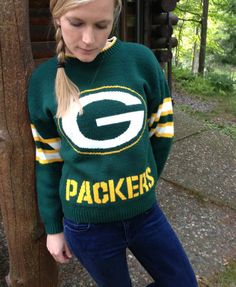 Vintage 80s Green Bay Packers Knit Sweater via Etsy