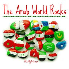 ACraftyArab: Arab World Rocks Tutorial. Yesterday was a snow day in our town so the girls were home from school. We have been talking a lot about the Arab world lately so I decided to take advantage of the day and teach my girls about all the flags.   Since the car wasn't getting out of the garage, we couldn't …