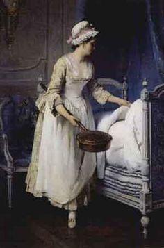 Antoine Jean Etienne Faivre   (French, 1830 - 1905)   Servante au chauffe-lit  1875
