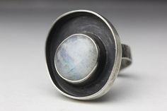Moonstone & Sterling Orbit Ring Artisan by leChienNoirJewelry