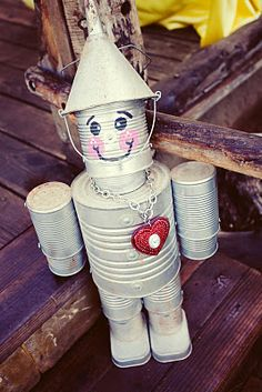 Tin Man made from recycled cans- what a fun craft to do with the kids after watching The Wizard of Oz!