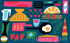 Pattern by TDAC co-founder Salli S. Swindell studiosss.tumblr.com Food Patterns, Kitchen Colors, Food Art, Amsterdam, Graphic Design, Graphics, Artist, Illustrations, Projects