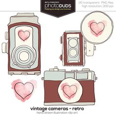 VINTAGE CAMERAS - RETRO, Digital Embellishments Clip Art | hand drawn watercolor brown blue pink heart vintage antique
