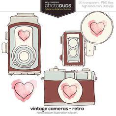 VINTAGE CAMERAS - RETRO, Digital Embellishments Clip Art | hand drawn watercolor brown blue pink heart vintage antique