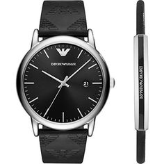 Gift set made-up by LUIGI timepiece, 43 mm stainless steel case with mineral dial window, black dial with sunray effect, black leather strap with Emporio Armani logo and stainless steel buckle closure. Black leather and stainless steel bracelet with Emporio Armani logo. Brand new and delivered... more details available at https://perfect-gifts.bestselleroutlets.com/gifts-for-men/product-review-for-emporio-armani-luigi-gift-set-bracelet-and-watch-ar80012/