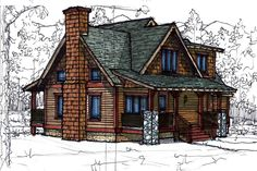 Cottage Style House Plan - 3 Beds Baths 1510 Sq/Ft Plan okay, this is reall close also. move bed from over kitchen to over great room, extend porch around that side. Cottage Style House Plans, Cabin House Plans, Cabin Floor Plans, Beach Cottage Style, Craftsman Style House Plans, Cottage Style Homes, Cottage House Plans, Cottage Design, Dream House Plans