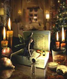 A Christmas Faery Tale © Nikolai Angelus Stone (PhotoArtist, UK) aka  angel1592 via DeviantArt. Digital Art. Photomanipulation. Fantasy. Fairies, Reading, Open Book ... Prints available for purchase.