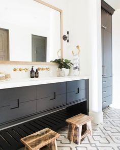 Boys Bathroom - patterned tile, white countertops and gold hardware Bad Inspiration, Bathroom Inspiration, Bathroom Inspo, Bathroom Furniture, Bathroom Interior, Bathroom Remodeling, Basement Remodeling, Remodeling Ideas, Black Cabinets Bathroom