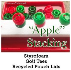 Apple Stacking game for our Tot School / Homeschool Apple Unit Apple Life Cycle, Fruit Pouches, Apple Unit, Apple Activities, Unit Plan, School Themes, Tot School, Life Cycles, The Unit