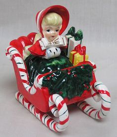 Vintage LEFTON Christmas Shopper Girl on Sleigh Figurine 1956 / Red and White Striped Sleigh Loaded with Gifts Holly on Front