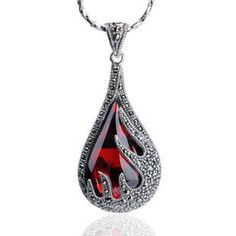 Gorgeous Red Garnet Tear Drop Pendant Thai Silver Jewelry for Women PENDANT ONLY