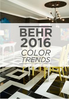 The 2016 BEHR Color Trends will inspire the color palette in your new home. The bright colors contrast perfectly with the darker hues for a contemporary and eccentric feel.