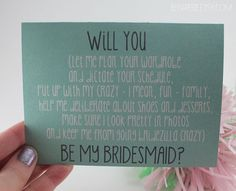 Bridesmaid Card / Will You Be My Bridesmaid / Friend by BEpaperie