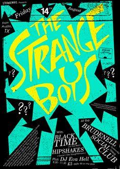 GigPosters.com - Strange Boys, The - Black Time - Hipshakes, The