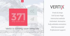 Vertix Coming soon Template . Vertix is a HTML5 interactive template, solution for interactive template, Vertix is  minimalis, and responsive design, built with Bootstrap, using Jquery HTML5 & CSS3 with smooth animation effect, it is easily usable with any device (Desktop, tablet, mobile phone), without removing any