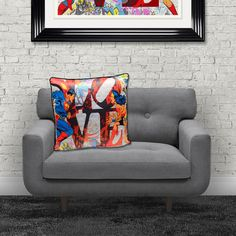 Superhero Cushions Official Marvel DC Comic Gifts Home Comic Book Accessories Gifts Superman and Batman with Wonder Woman Spiderman The Hulk Ironman all fighting on the same team Marvel Dc Comics, A Comics, Comic Book Printing, Superhero Gifts, Furniture Care, Dc Comic Books, Iconic Characters, Printing On Fabric, Love Seat