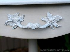 Drum table makeover with raised stencils, whitewash stain and crackle medium