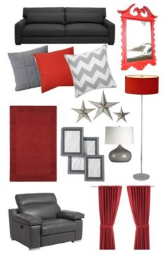 Red and grey color scheme for living room :)