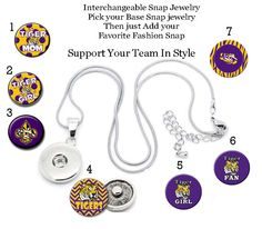 Custom Snap Jewelry  Charms, LSU, Team Mascot, Tiger fan,  https://www.etsy.com/listing/254857454/mascot-lsu-tiger-snap-charms-collection