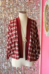 Red Houndstooth Cardigan