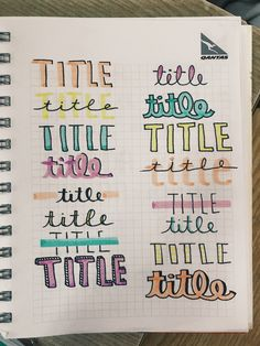 Some title lettering ideas for your bullet journal.styles for your November co Apuntes Bonitos ✍️ Bullet Journal School, Bullet Journal Headers, Bullet Journal Writing, Bullet Journal 2019, Bullet Journal Aesthetic, Bullet Journal Ideas Pages, Bullet Journal Inspo, Lettering Tutorial, Lettering Ideas