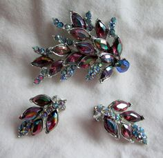 Vintage AB Rhinestone Brooch and Clip Earrings by WeeLambieVintage, $22.00
