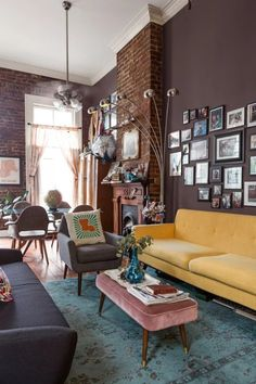 The yellow couch with wall color