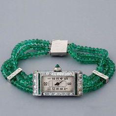 Antique Art Deco Emerald & Diamond Watch