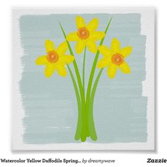 Watercolor Yellow Daffodils Spring Mint Blue Poster (105.930 IDR) ❤ liked on Polyvore featuring home, home decor, wall art, flowers, watercolor wall art, blue home accessories, framed wall art, paper wall art and blue home decor