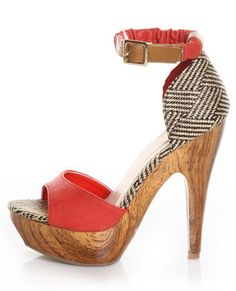 Mona Mia Trinidad Red, Black and Tan Woven Platforms $46