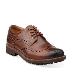 Montacute Wing Dark Tan Leather - Men's Oxford Shoes - Clarks® Shoes