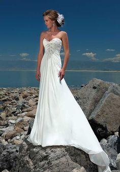 A Line Sweetheart Floor Length Attached Gossamer Chiffon Beading Beach Wedding Dress