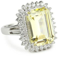 "CZ by Kenneth Jay Lane ""Classic Cubic Zirconia"" Rhodium-Plated Silver Framed Yellow Ring, Size 7 CZ by Kenneth Jay Lane,http://www.amazon.com/dp/B005DFO1QQ/ref=cm_sw_r_pi_dp_SC9otb04BZV7ND80"