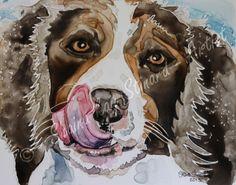 CUSTOM PET PORTRAITS/ WATERCOLOR ON YUPO -  'Ziggy' - 8 x 10 watercolor Dog Portrait Painting on Yupo paper by Shaina Kay Stinard - Artist, Making your photos a work of art!  Custom paintings of people, pets and places.   Pet Portraits, Dog portraits,   www.shainastinardartist.com or find me on Facebook!  #DoitonYUPO  #YUPO