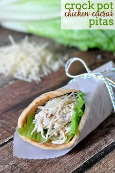 Crock Pot Chicken Caesar Pitas are perfect for summer - easy to make, light, cooked in a slow cooker and DELICIOUS! Plus, it makes great leftovers!