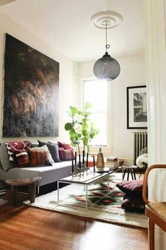 Round Pendant Lamp Shade Plus Narrow Coffee Table On Bohemian Living Room Ideas Plus Comfortable Couch