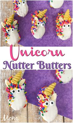 Make these adorable Unicorn Nutter Butters for your favorite Unicorn Lover! Perfect for parties, just for fun, or a great activity for all. Galaxy Desserts, Mini Desserts, Oreo Desserts, Plated Desserts, Rainbow Food, Rainbow Sprinkles, Roll Cookies, Yummy Cookies, Salted Caramel Fudge
