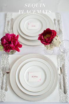 DIY wedding www.finditforweddings.com Sequin Placemats