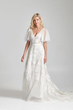 """""""Paloma"""" tulle and lace wedding dress with flutter sleeves by Rebecca Schoneveld Bridal Fall 2020 Plus Wedding Dresses, Plus Size Wedding, Wedding Gowns, Lace Wedding, Mermaid Wedding, Bridesmaid Dresses, Formal Dresses, Wedding Dress With Pockets, Wedding Dress Sleeves"""